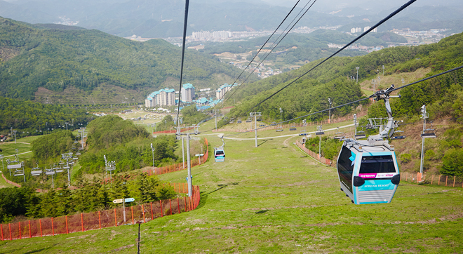 Resort and 1,325 m The gondola that connects up to six passengers of the slope②